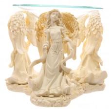Decorative Cream Angel Design Oil Burner with Glass Dish