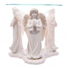 Decorative Praying White Angel Oil Burner with Glass Dish
