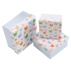 Butterfly Design Set of 3 Square Card Craft and Gift Boxes