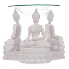 Decorative White Thai Seated Buddha Oil Burner with Dish