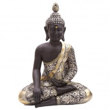 Decorative Thai Buddha Metallic Figurine with Crossed Legs