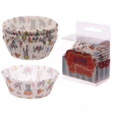 Pack of 72 Paper Cup Cake Cases - Elephant Circus Design
