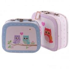 Decorative Set of 2 Love Owls Design Craft Cases