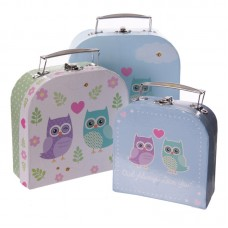 Fun Set of 3 Card Craft and Trinket Boxes - Love Owls