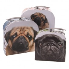 Fun Set of 3 Card Craft and Trinket Boxes - Pug