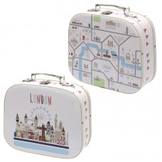 Decorative Set of 2 London Map Design Craft Cases