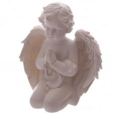 Praying Cherub Figurine Holding Jewelled Silver Cross