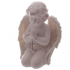 Kneeling Cherub Figurine Praying with Jewelled Cross
