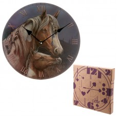 Decorative Horse and Foal Round Wall Clock