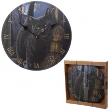 Fantasy Black Cat and Broomstick Design Decorative Wall Clock