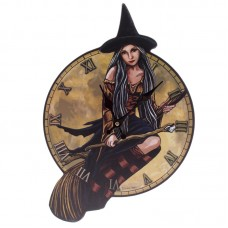 Fantasy Witch on Broomstick Shaped Wall Clock