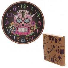 Fun Black Background Day of the Dead Skull Wall Clock