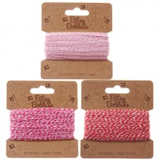Creative Craft Pack - 25 Yards Red, Pink & White Twine