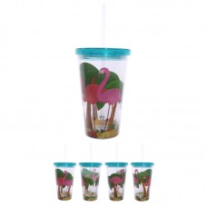 Funky Flamingo Double Walled Cup with Lid and Straw