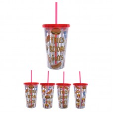 Funky Fast Food Double Walled Cup with Lid and Straw