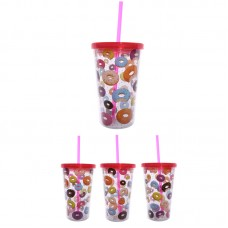 Funky Donut Double Walled Cup with Lid and Straw