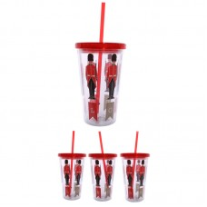 Funky Guardsman Double Walled Cup with Lid and Straw