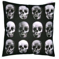 Decorative Skull Design Black and White Cushion