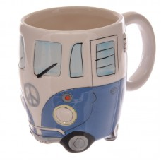 Funky Novelty Blue Camper Van Design Ceramic Mug