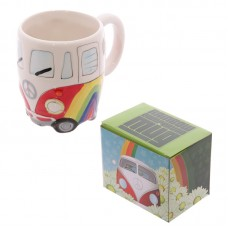 Funky Novelty Rainbow Camper Van Design Ceramic Mug