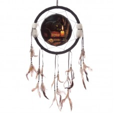 Decorative Magical Witching Hour Cat 34cm Dreamcatcher
