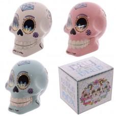 Novelty Candy Skull Day of the Dead Ceramic Money Box