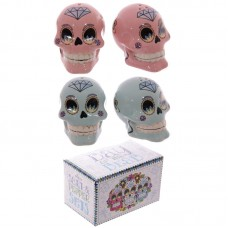 Fun Ceramic Day of the Dead Candy Skull Salt and Pepper Set