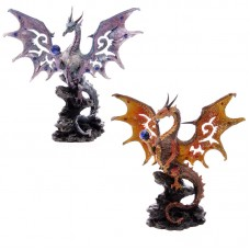 Scaled Wings Fire and Ice Fantasy Dragon Collectable