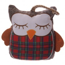 Cute Red Tartan Owl Shaped Polyester Door Stop
