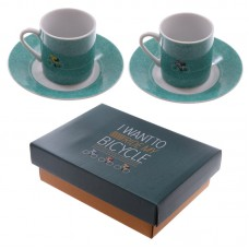 Set of 2 Espresso Cup and Saucer - Cycling