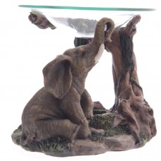 Decorative Elephant Design Oil Burner with Glass Dish