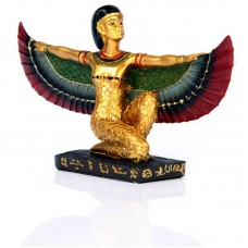 Decorative Gold Egyptian Winged Isis Figurine Kneeling