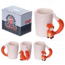 Ceramic Novelty Fox Shaped Handle Mug