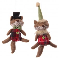 Winter Fox Collection - Red Tartan Hanging Decoration