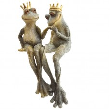 Garden Frog Prince and Princess Shelf Sitter