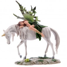 Decorative Green Woodland Fairy Resting on Unicorn