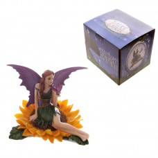 Sunflower Fairy with Butterfly Fantasy Fairy Nature Figurine