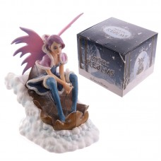 Mystic Realms Fairy Figurine Riding Leaf Sleigh