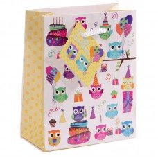 Fun Novelty Party Owl Small Glossy Gift Bag