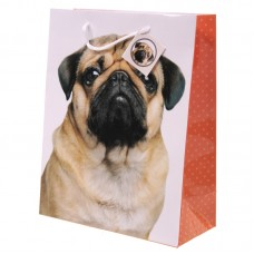 Cute Pug Design Large Glossy Gift Bag