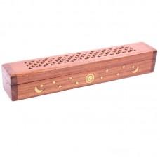 Decorative Sheesham Wood Box with Sun and Stars Design
