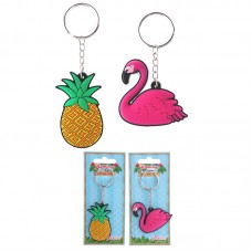 Fun PVC Keyring - Flamingo and Pineapple