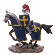 Knight Figurine Riding Horse with Blue Shield