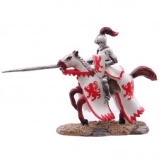 Fantasy Knight Figurine on Rearing Horse - White and Red