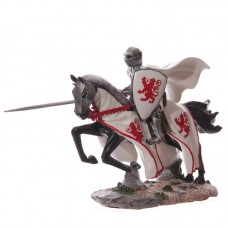 Large Fantasy Knight Figure with Red Lion Crest