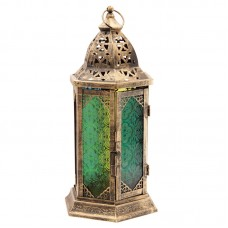 Moroccan Style Embossed Glass Fretwork Metal Lantern