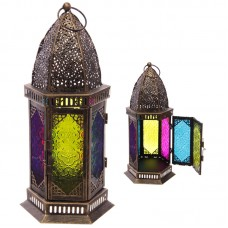 Hexagonal Moroccan Style Metal and Glass Lantern