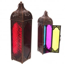 Metal and Glass Moroccan Style Bronze Effect Lantern