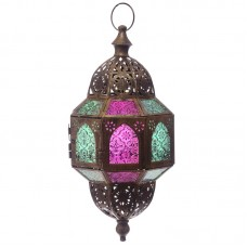 Gold Effect Intricate Glass Moroccan Style Octagonal Lantern