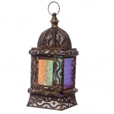 Gold Effect Intricate Glass Moroccan Style Standing Lantern